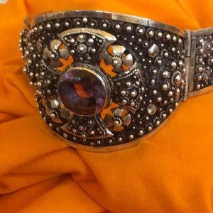 Jewelry - Large Celtic cuff bracelet w/ amethyst stone
